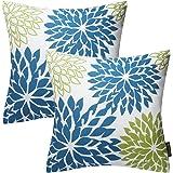 """Phantoscope Set of 2 Living Dahlia Series Decorative Throw Pillow Cushion Cover 18"""" x 18"""" 45cm x 45cm (Blue)"""