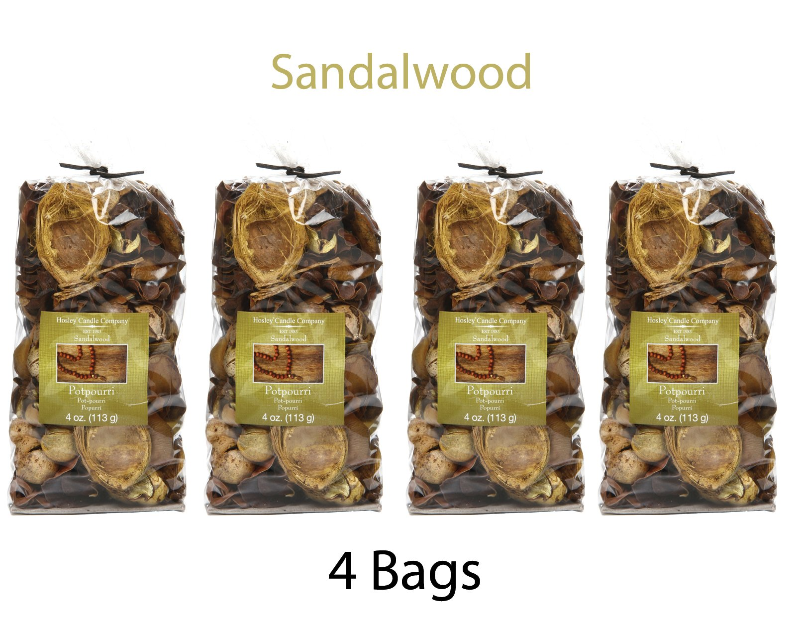 Hosley Set of 4 Sandalwood Scented, Natural Potpourri Bag -4 oz each. Infused Essential Oils. Ideal Weddings, Spa, Reiki, Meditation Settings, Bulk Buy O4