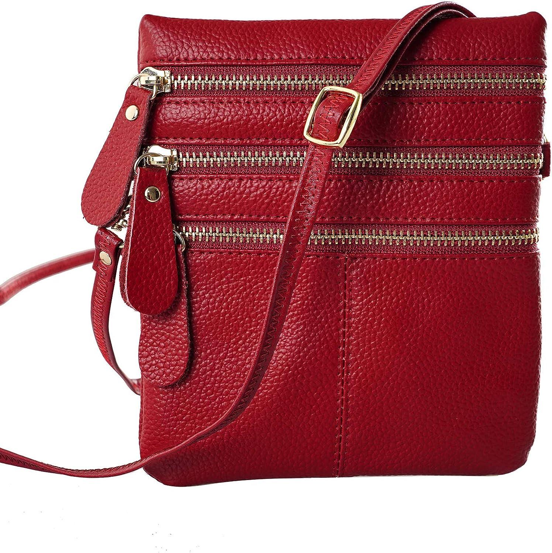 Triple Zip Pocket Leather...
