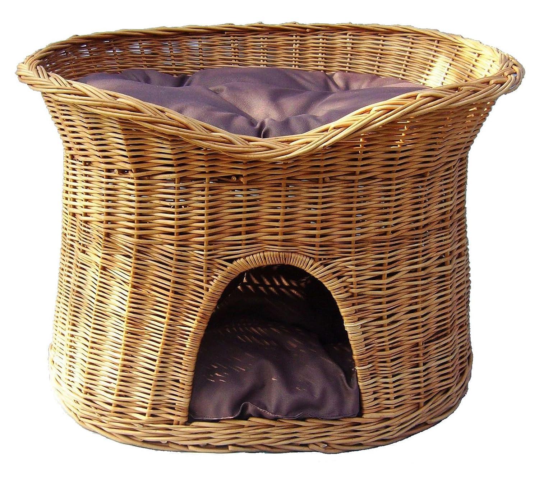 Floranica® - L ou XL Panier pour chats Lit pour chats Couchage pour chats avec / sans coussin (au choix), Coussin:clair coussin, Dimension:L (61x42x48 cm) Pemicont
