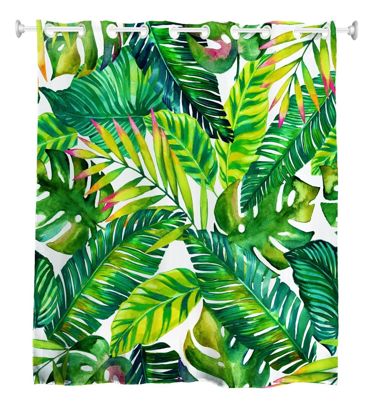 Goodbath Hookless Shower Curtains, Banana Leaves Floral Fabric Waterproof and Mildew Resistant Bathroom Curtain Set with Hooks, Green White by Goodbath
