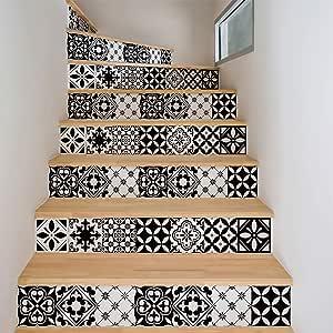 Ambiance Sticker 2 Pegatinas Adhesivas para escaleras, Azulejos de Cemento, Pegatinas para contramarca, baldosas, 15 x 105 cm, 2 Tiras: Amazon.es: Hogar