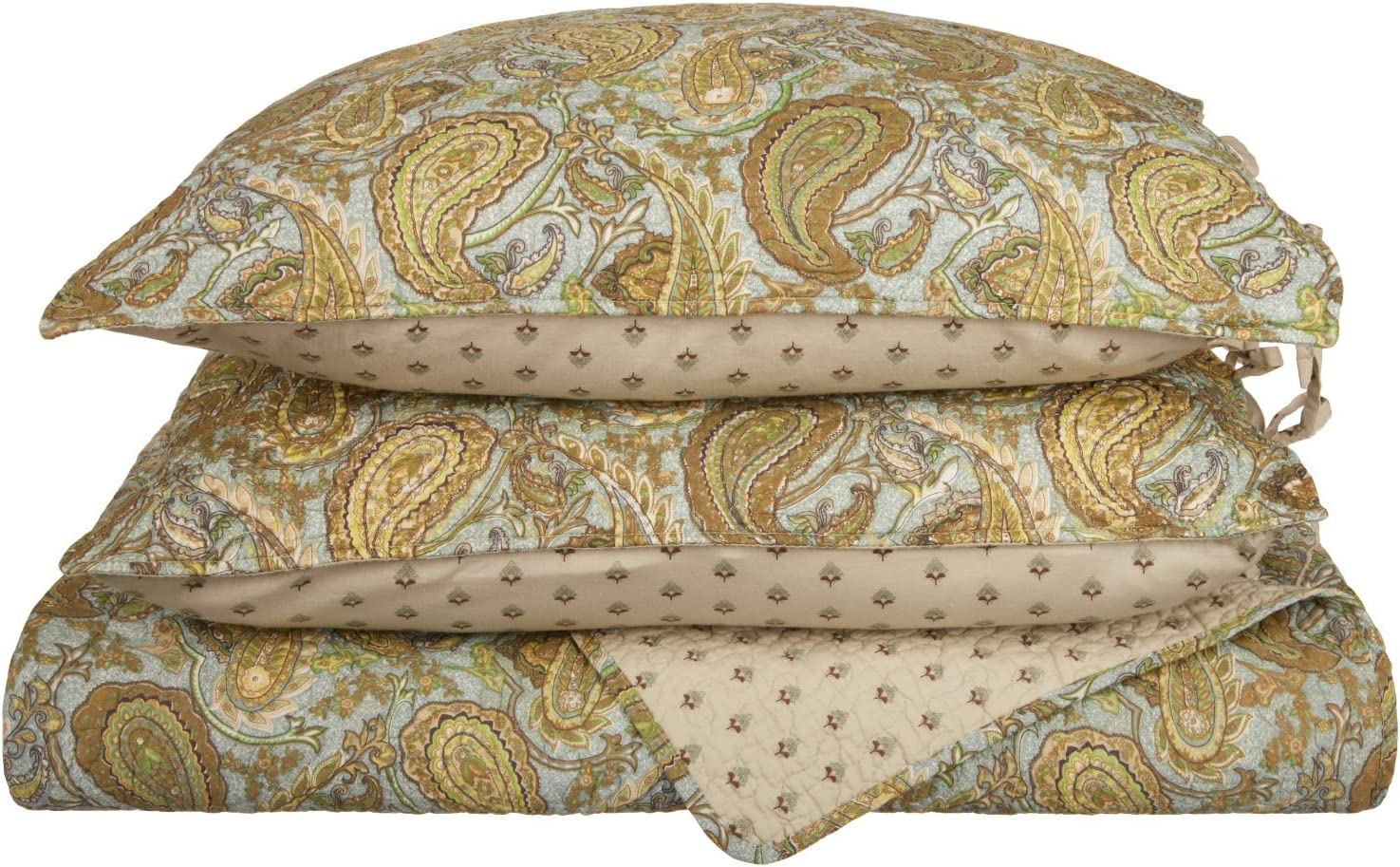 Superior Moroccan Paisley 100% Cotton 3-Piece Full/Queen Quilt Set in Green