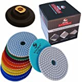"Diamond Polishing Pads 4"" inch Wet/Dry Set of 11+1 Backer Pad Best Value Granite Concrete"