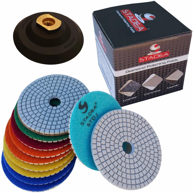 Diamond Polishing Pads 4 inch Wet/Dry Set of 11+1 Backer Pad Best Value Granite Concrete Shop N Save Diamond Tools 4inch22+1pad