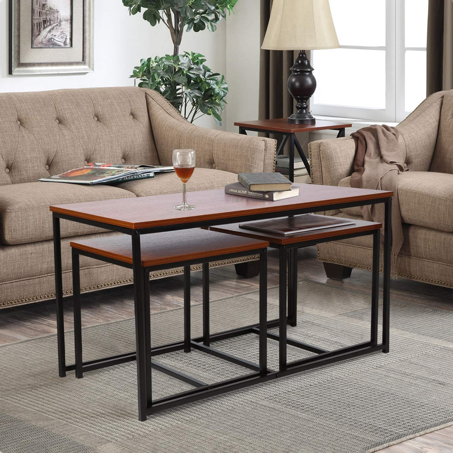 Amazon Com Living Room Table Set Amzdeal 3 Piece Table Set Includes Coffee Table And 2 End Tables Coffee Table Set Occasional Set For Home Office Walnut Kitchen Dining
