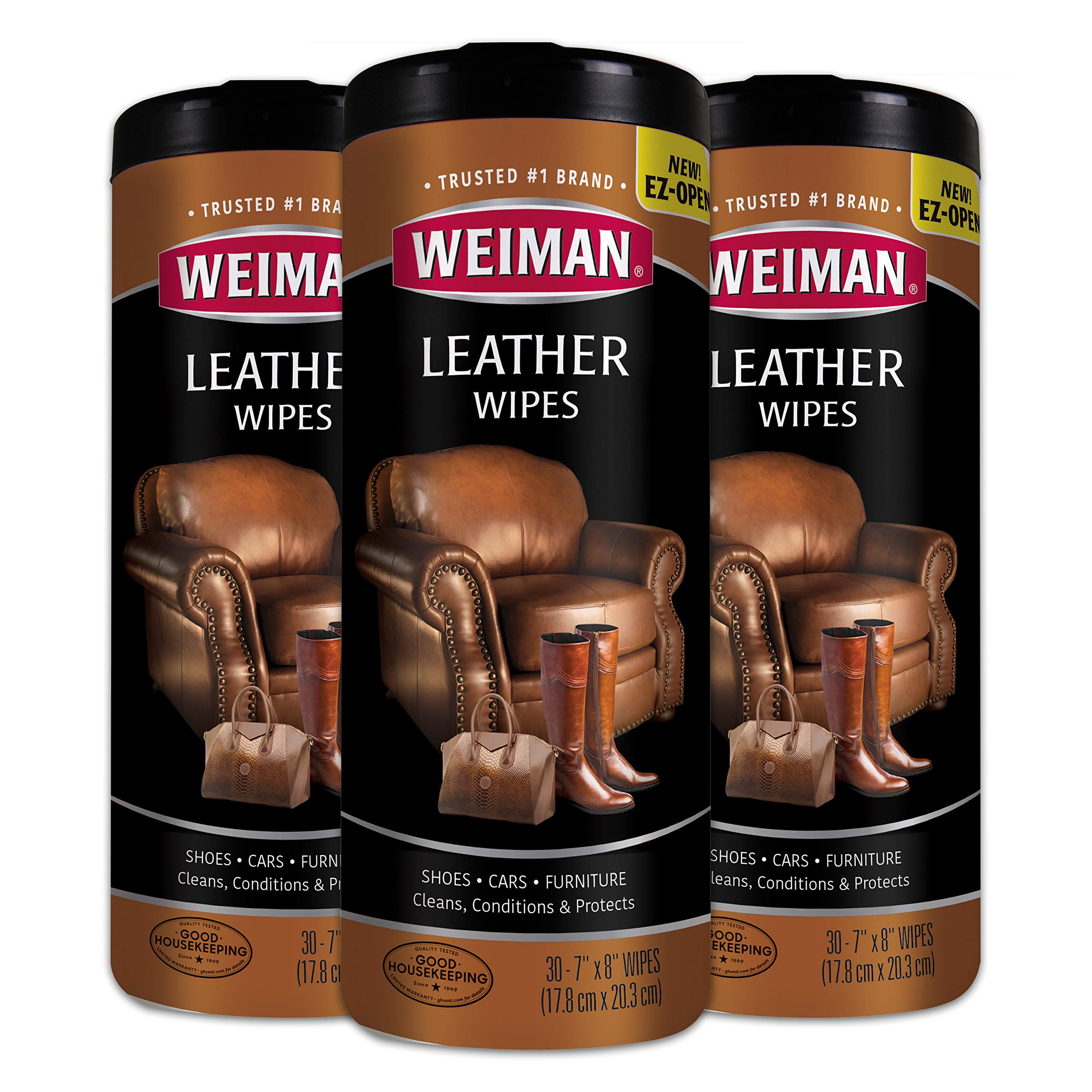Weiman Leather Wipes - 3 Pack - Clean, Condition, Ultra Violet Protection Help Prevent Cracking or Fading of Leather Furniture, Car Seats and Interior, Shoes by Weiman