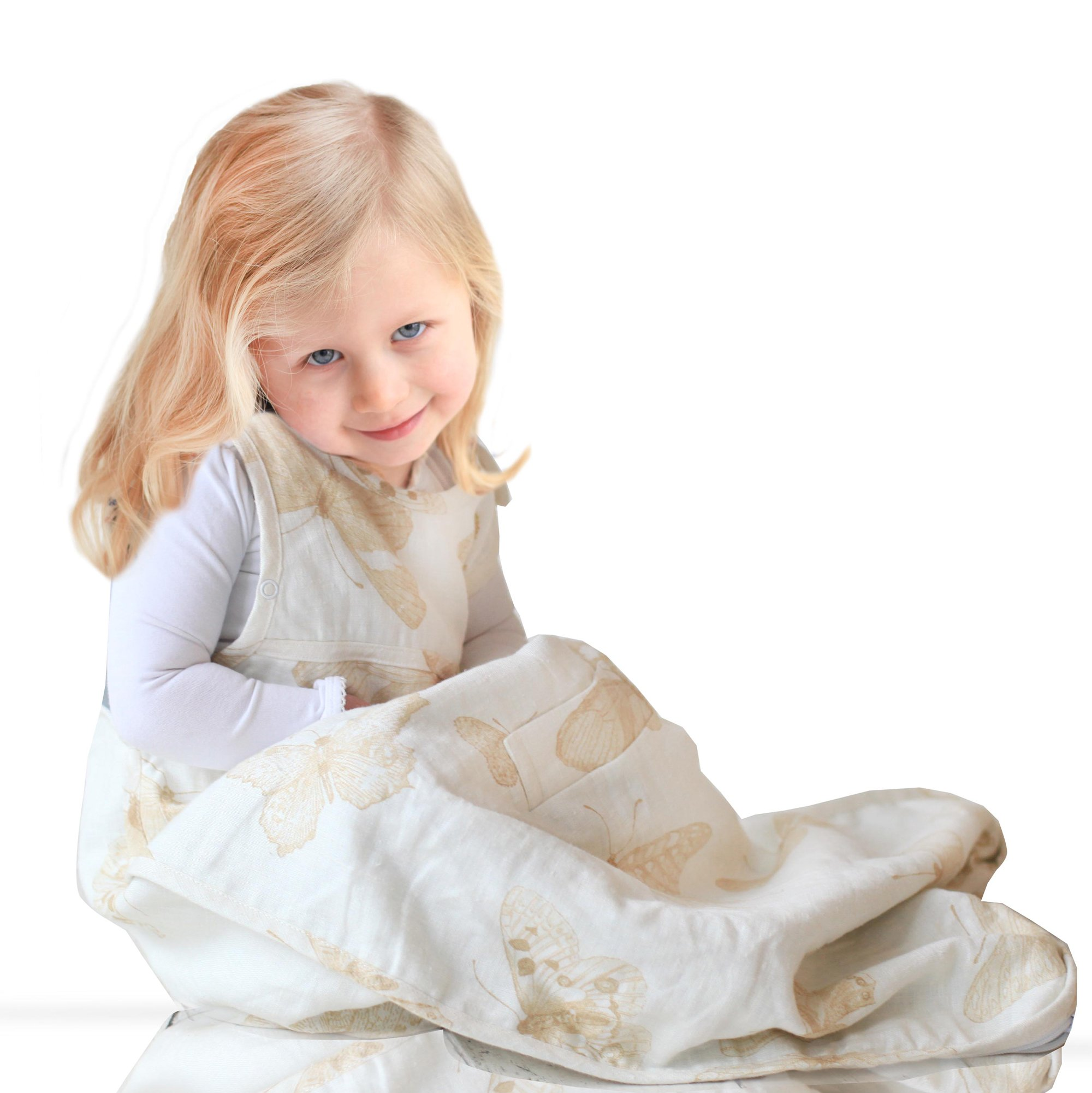Merino Kids ''Butterfly'' Linen Outer Baby Sleep Bag For 2-4 years, Natural