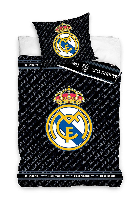 RM Real Madrid Parure de lit Housse de Couette r/éversible 100/% Coton 140x200 taie doreiller 70x80 Champion Club Football Real Madrid