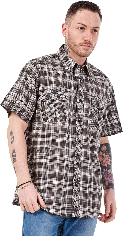 Apparel Mens Regular Big Size Shirts Checked Cotton Blend Casual Short Sleeve Blue M-5XL