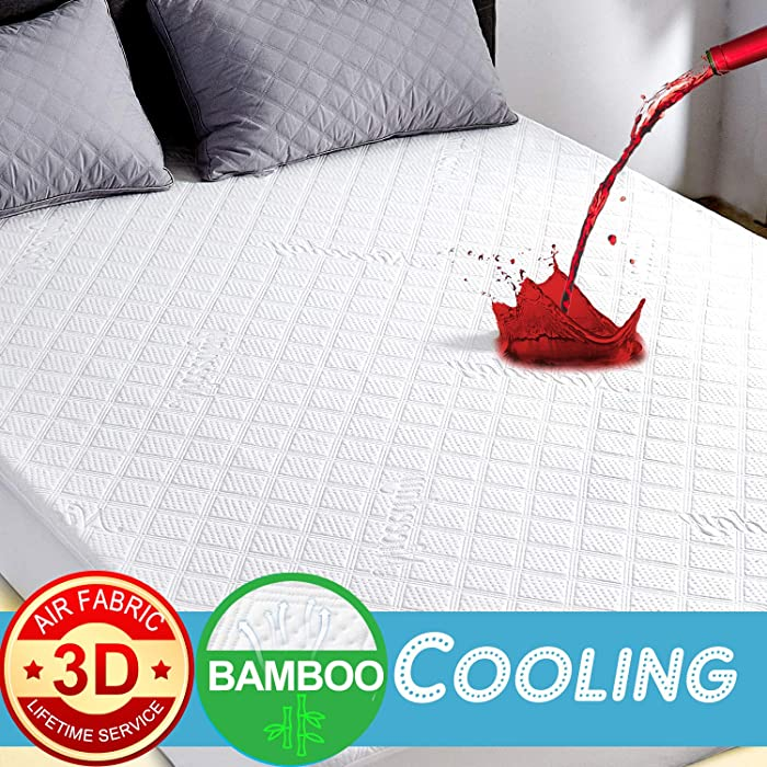 Niceeday Organic Mattress Protector King, Cooling Bamboo Waterproof Mattress Protector, Ultra Soft 3D Air Fabric Mattress Pad Cover Hypoallergenic Waterproof Sheets -Cotton (Ivory(Premium 3D), King)