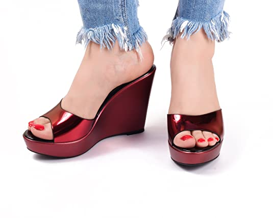 55dab0742e0e Dech Barrouci Metallica Red Wedge Wedge Heels Comfortable Fit Ladies  Sandals Girls Sandals Heels Party Wear Classy Attractive Elegant Look Hot  for Women and ...