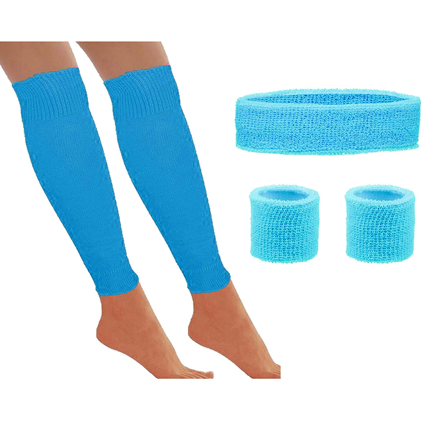 80s Workout Accessories Set with Leg Warmers, Sweatbands and Bracelets - many colours