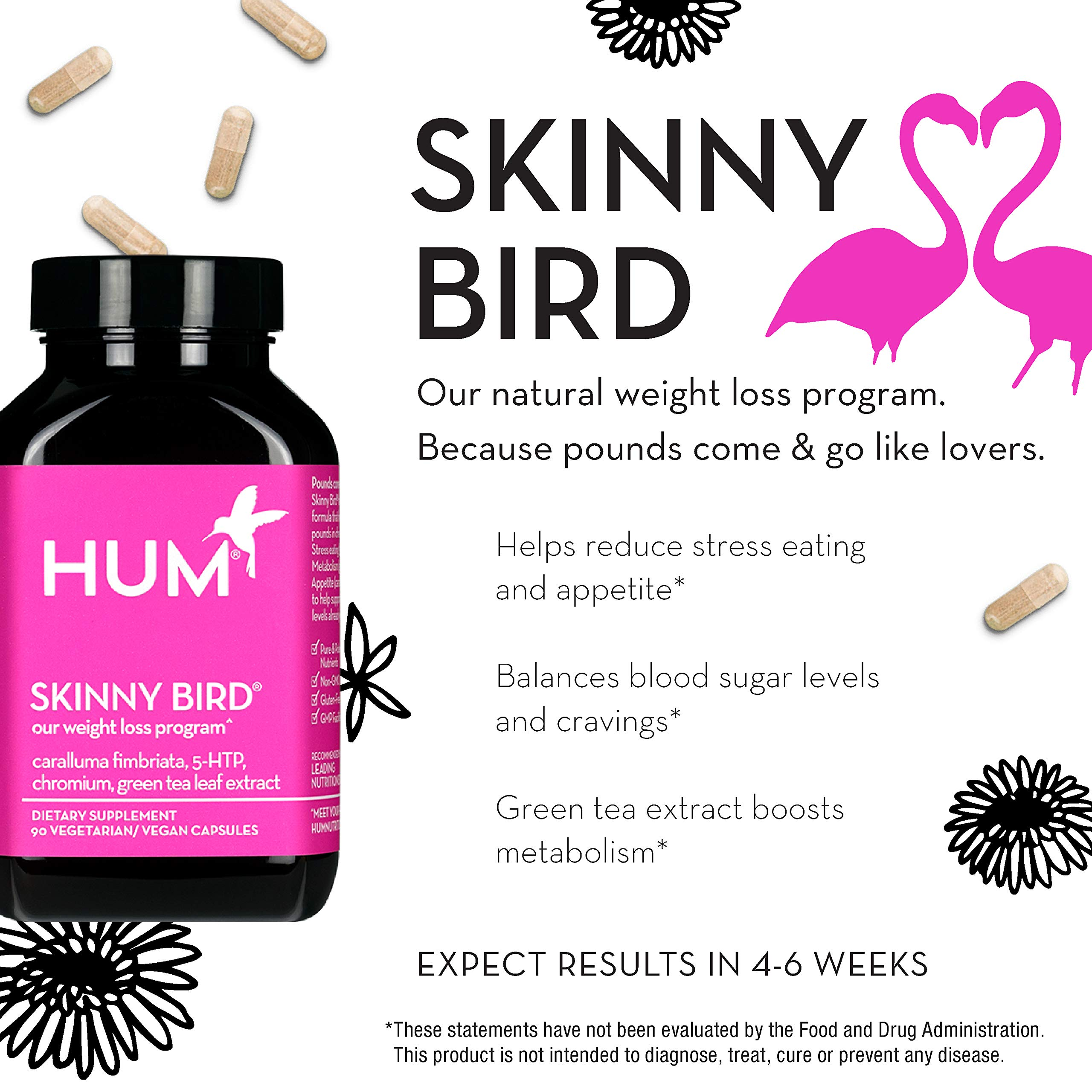 HUM Skinny Bird - Weight Management Support with Green Tea Extract, 5-HTP, Chromium & Caralluma Fimbriata (90 Vegan Capsules) by HUM (Image #3)