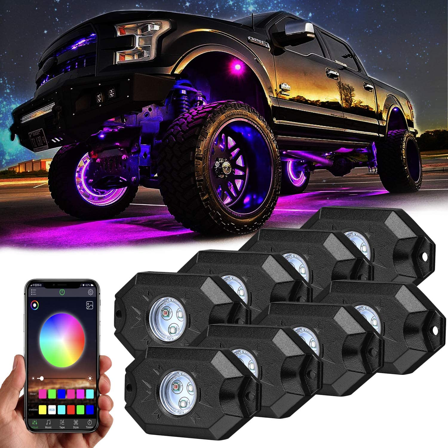 Rgb Rock Lights,8 Pods Underglow Lights with App Control,Timing,Music Mode,Flashing Multicolor 4 Wheels Neon Lights for Truck Suv Atv Off Road: Automotive