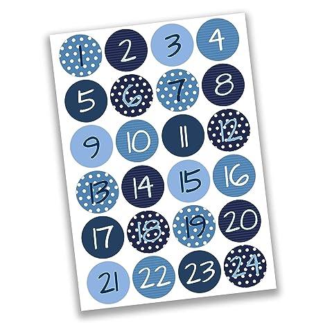 Calendrier De L Avent A Creer.24 Autocollants Avec Numero Pour Calendrier De L Avent Numeros Bleus Nr 2 Autocollants Pour Creer Ou Decorer