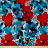 Telio Brazil Stretch ITY Knit Floral Red/Blue Fabric By The Yard
