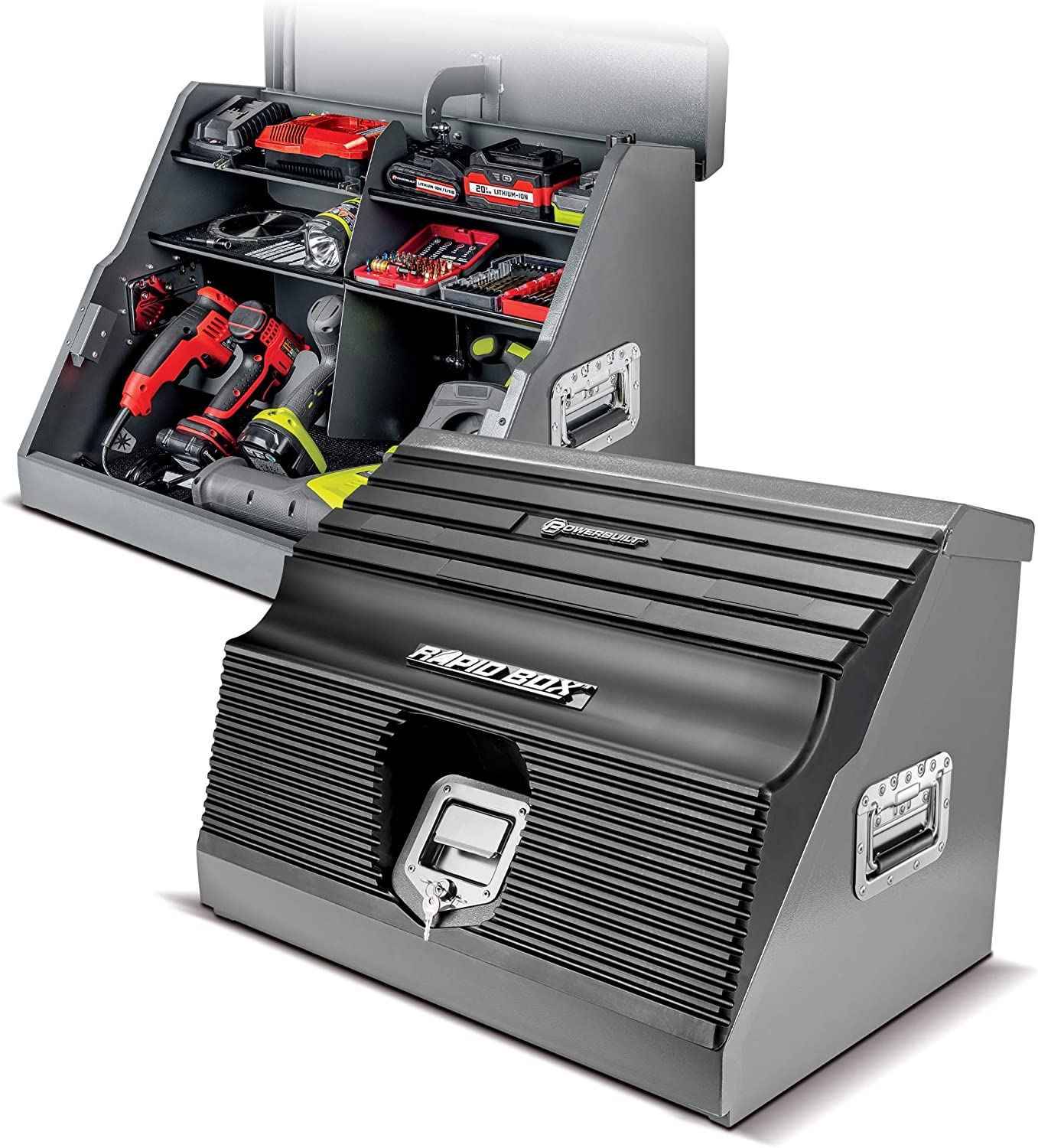 Powerbuilt 26 In. Portable Slant Front Power Tool Locker Toolbox with Power Drill Slots, Storage Compartments, 16 Ga. Steel, Chrome Hardware, Weather-Resistant Locking Polymer Lid, Gas Struts, 941805E