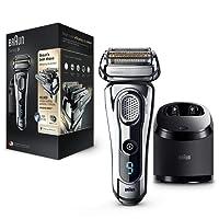 Braun Series 9 9296cc - Afeitadora eléctrica para hombre de lámina, en húmedo y seco, máquina de afeitar barba recargable e inalámbrica, con estación Clean&Charge y estuche de viaje de cuero, cromo