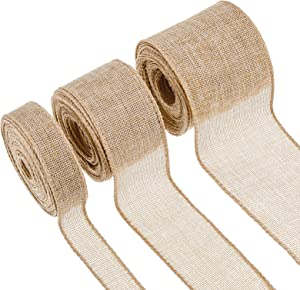 3 Rolls Christmas Burlap Fabric Wired Ribbon in 1/2/3 Inch x 10 Yards Jute Ribbon Linen Type Cloth for Arts Crafts Homemade DIY Projects, Event Decorations (Flaxen)