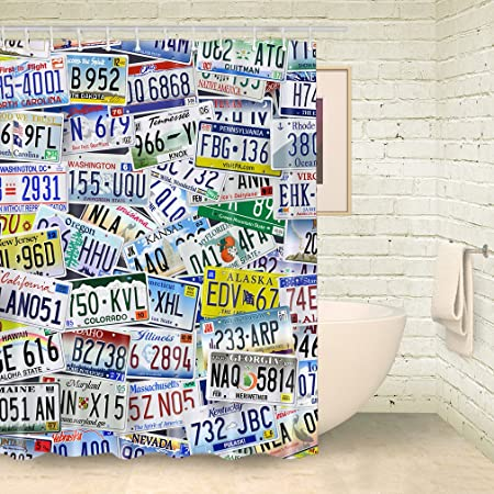 FOOG Car License Plate Shower Curtains Colorful Metal Curtain Bathroom Sets With Hooks