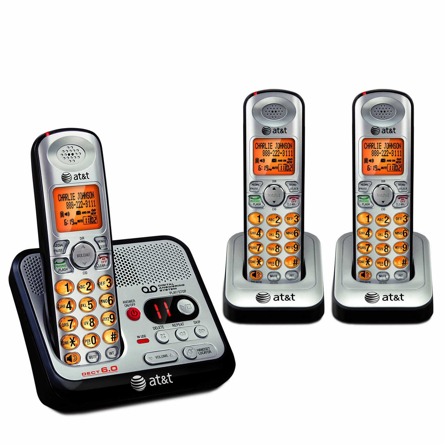 Amazon.com: AT&T EL52300 3-Handset DECT 6.0 Cordless Phone with ...