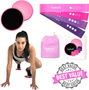 Bellafit Athletics 80 Day Obsession Equipment | 4 Resistance Loops Exercise Bands and 2 Exercise Sliders Fitness Equipment | Booty Bands and Core Sliders Workout Home Gym Equipment for Women