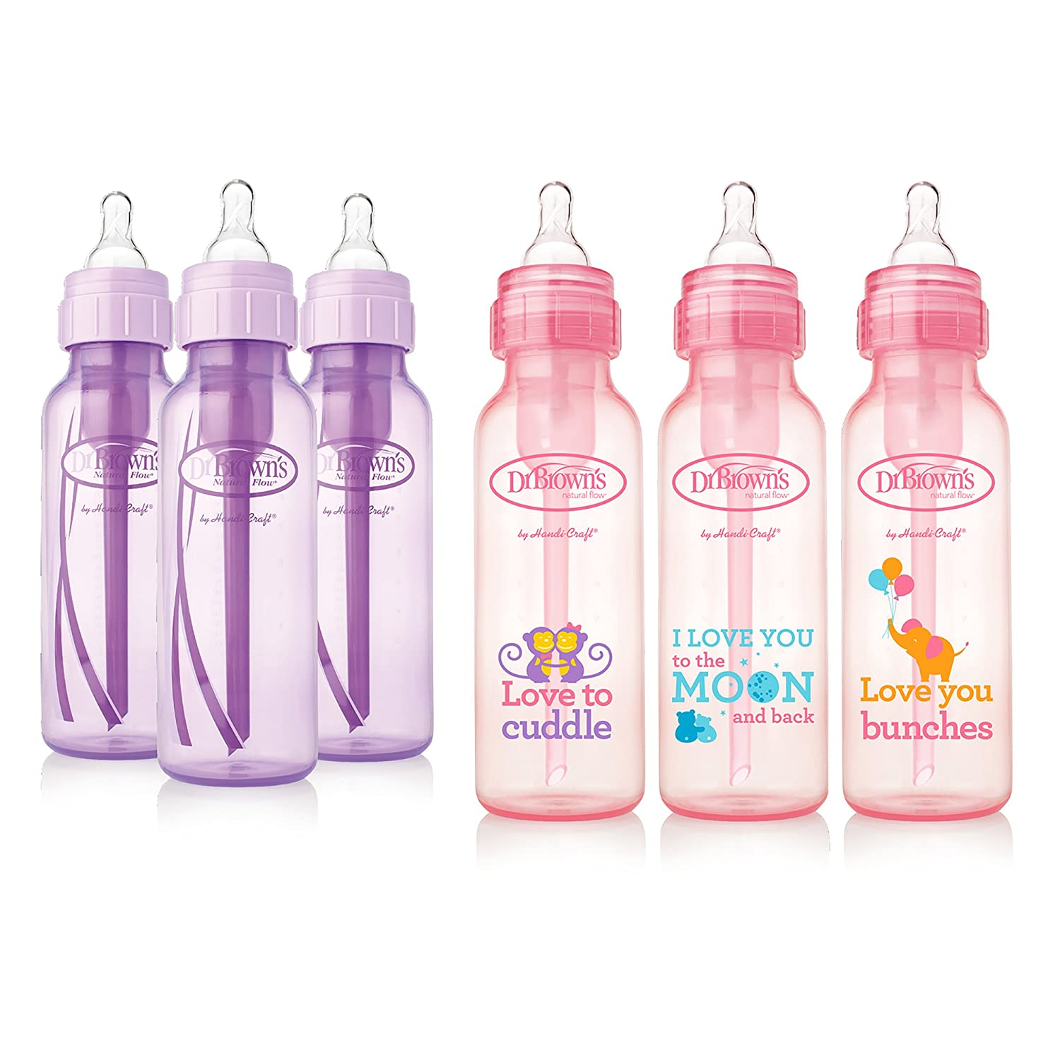 3 Browns Baby Bottles Girls 6 Pack Dr Pink bottles with new print 8 oz 8 oz Lavender and 3