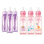 Dr. Brown's Baby Bottles Girls 6 Pack - 3 (8 oz) Lavender and 3 (8 oz) Pink bottles with new print