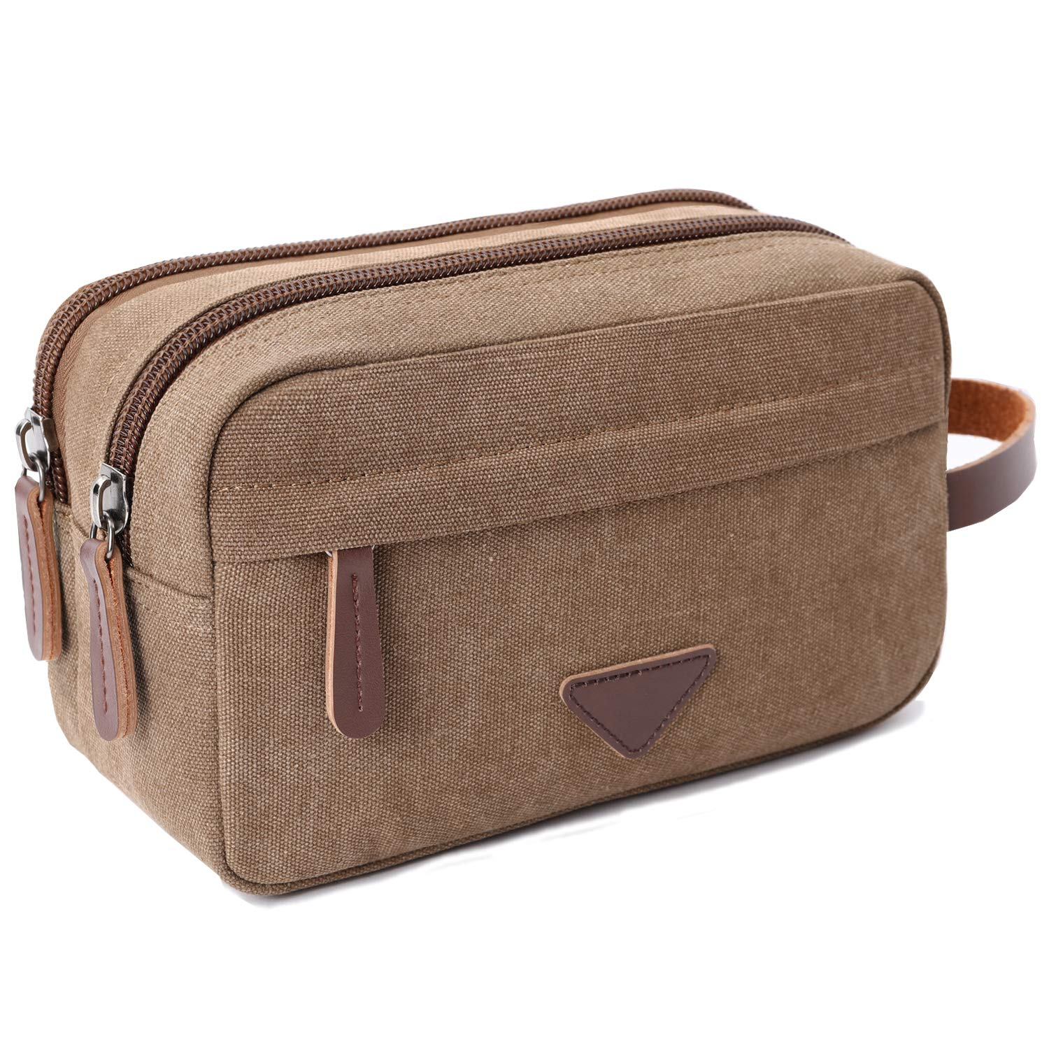 d5a1a896fde43 Amazon.com : Mens Travel Toiletry Bag Canvas Leather Cosmetic Makeup  Organizer Shaving Dopp Kits with Double Compartments (Coffee) : Beauty