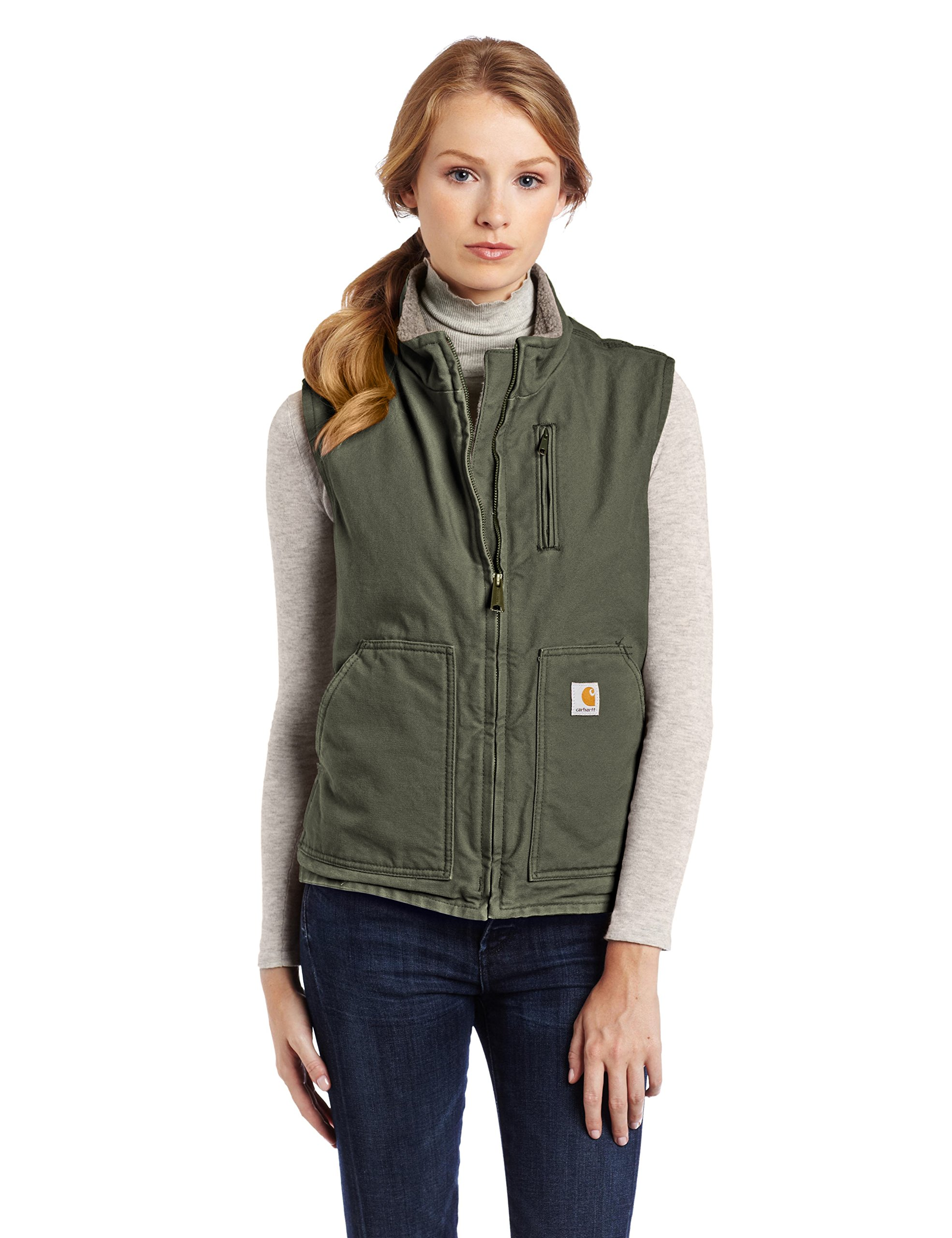 Carhartt Women's Mock Neck Sherpa Lined Vest (Regular and Plus Sizes), Woodland, X-Large by Carhartt