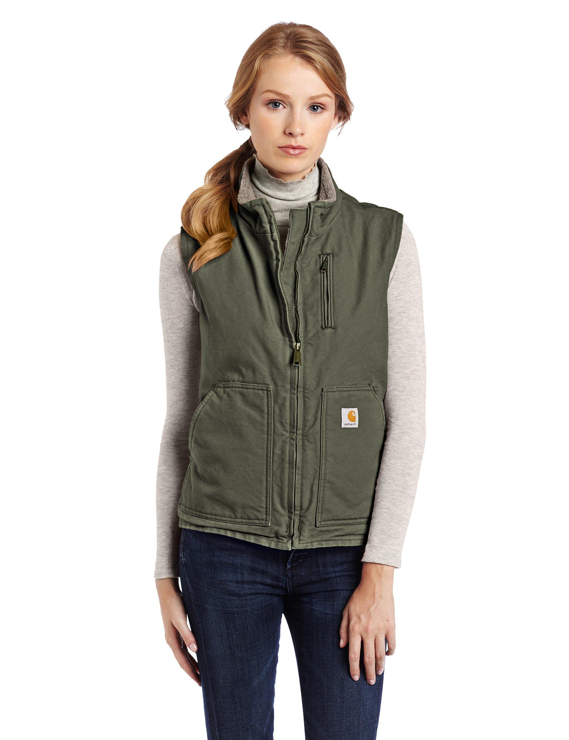 Carhartt Women's Sandstone Mock Neck Vest Sherpa Lined Zip Front, Woodland, X-Small
