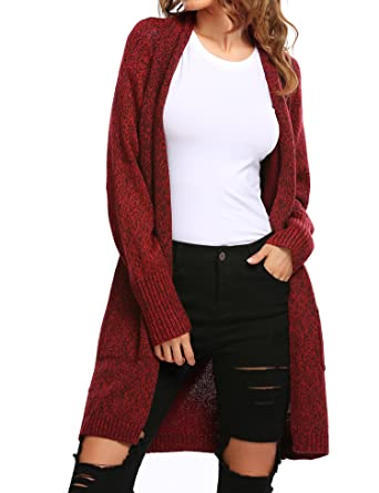 04ad9023ebc Zeagoo Women s Cable Twist School Wear Boyfriend Pocket Open Front Cardigan  (Wine Red
