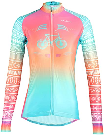 22ca468f1 Image Unavailable. Image not available for. Color  QinYing Womens Cycling  Jerseys Long Sleeve Zipper ...