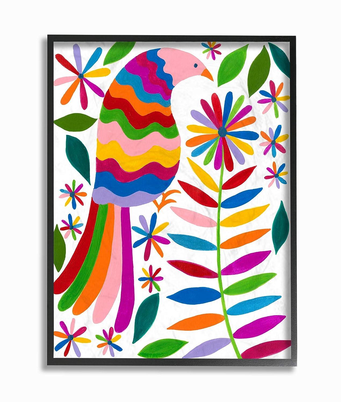 The Stupell Home Decor Folk Style Rainbow Feathered Bird and Daisy Flowers Wall Plaque Art 13 x 19 Multi-Color