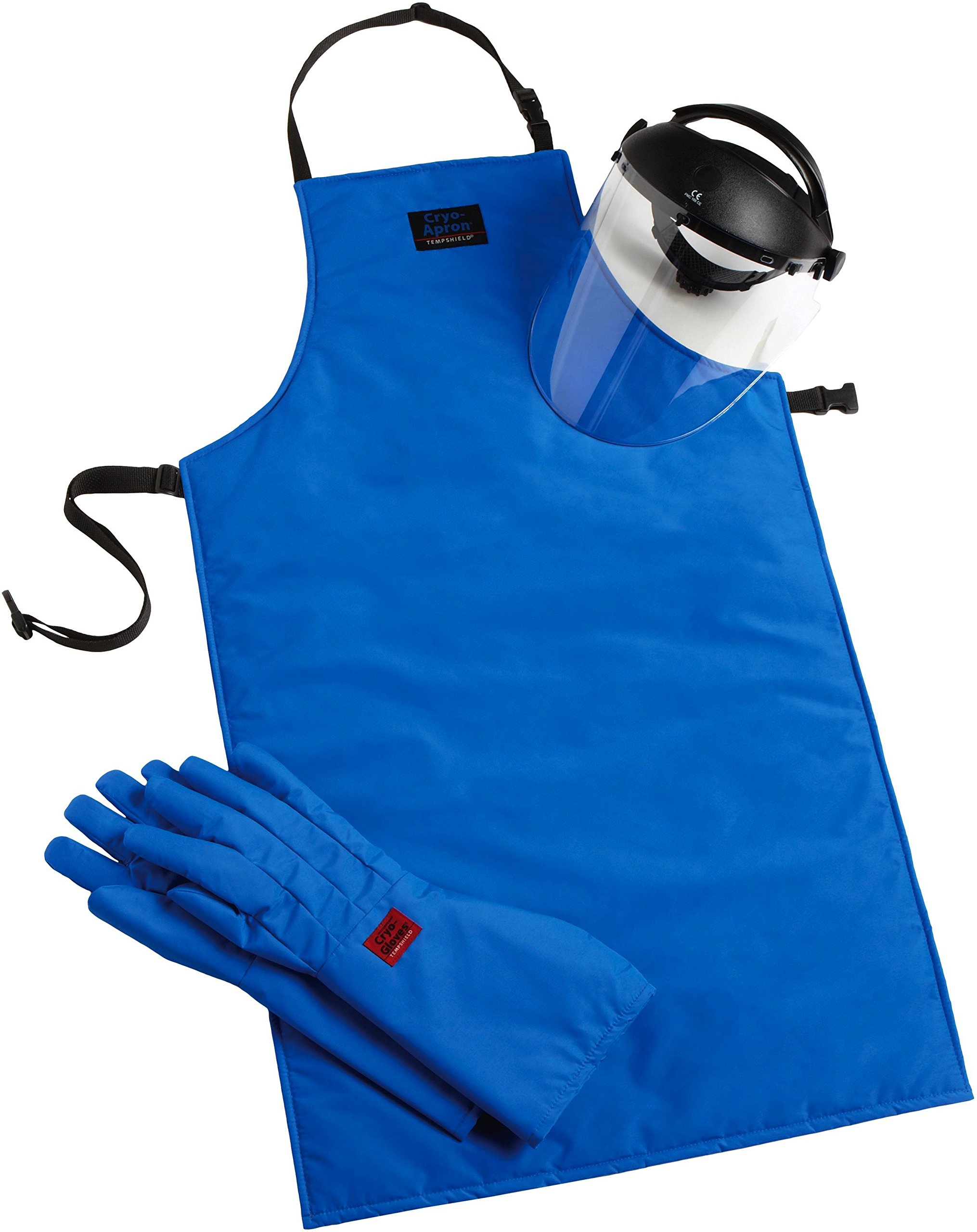Cryo-Protection Safety Kit: Waterproof Elbow Cryo-Gloves, 48'' Cryo-Apron, Cryo-Protection Face Shield (Large)