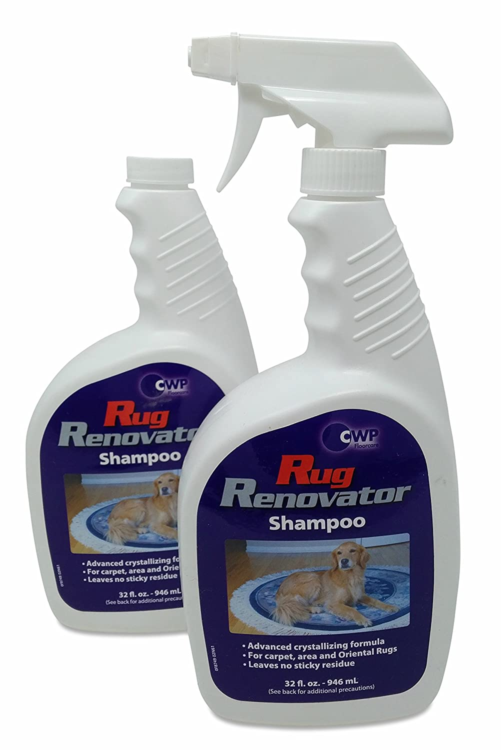 The Rug Renovator™ Shampoo - Carpet and Fabric Cleaner - Remove Wine, Pet Stains, Dirt from All Fabrics, Wool and Upholstery - Fragrance-Free Detergent - Liquid Foam - Two 32oz Bottles