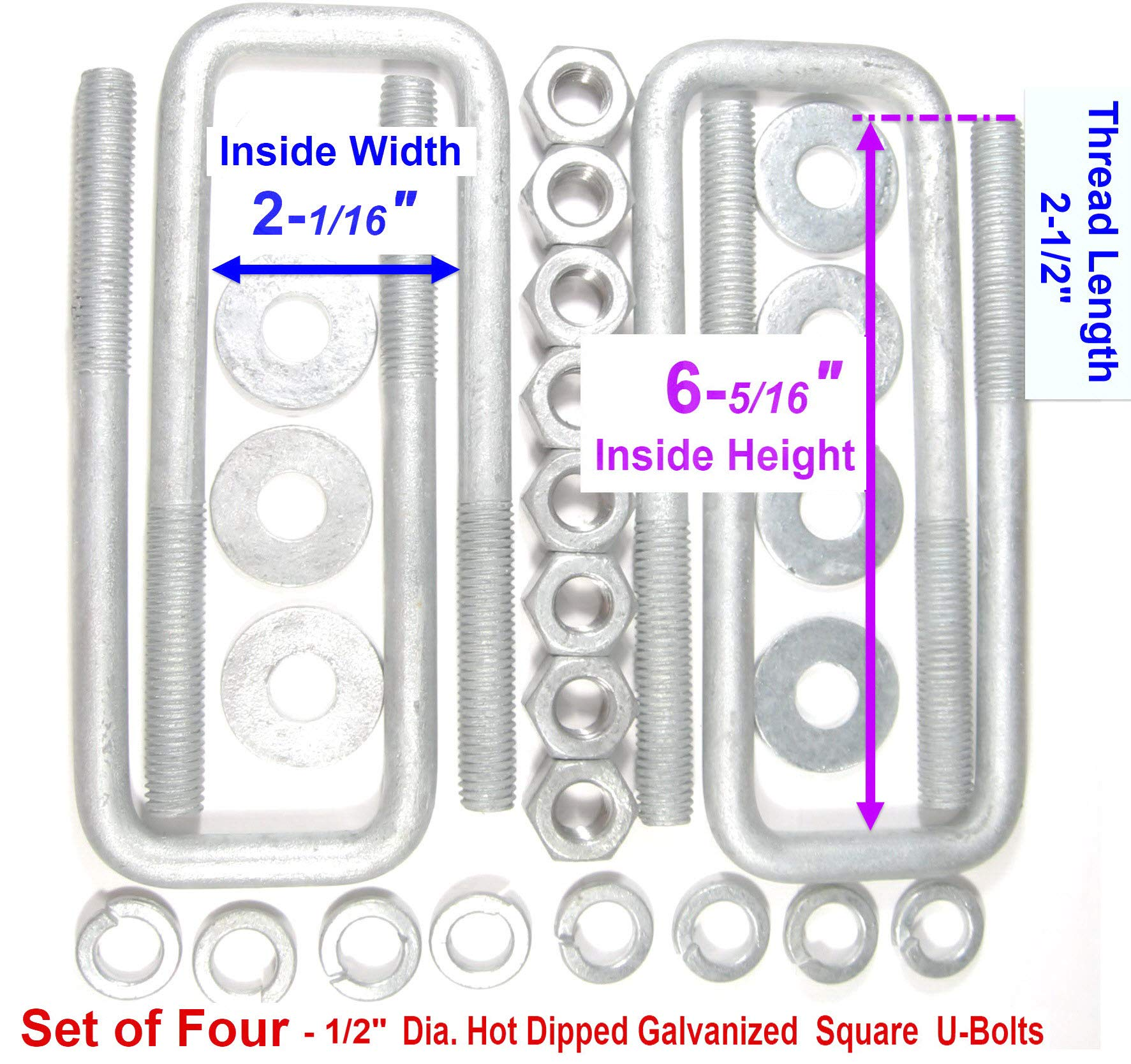 TMW (4) HDG Hot Dipped Galvanized Square U-Bolt Boat Trailer U bolt Ubolt 1/2'' D x 2 1/16'' W x 6 5/16'' L