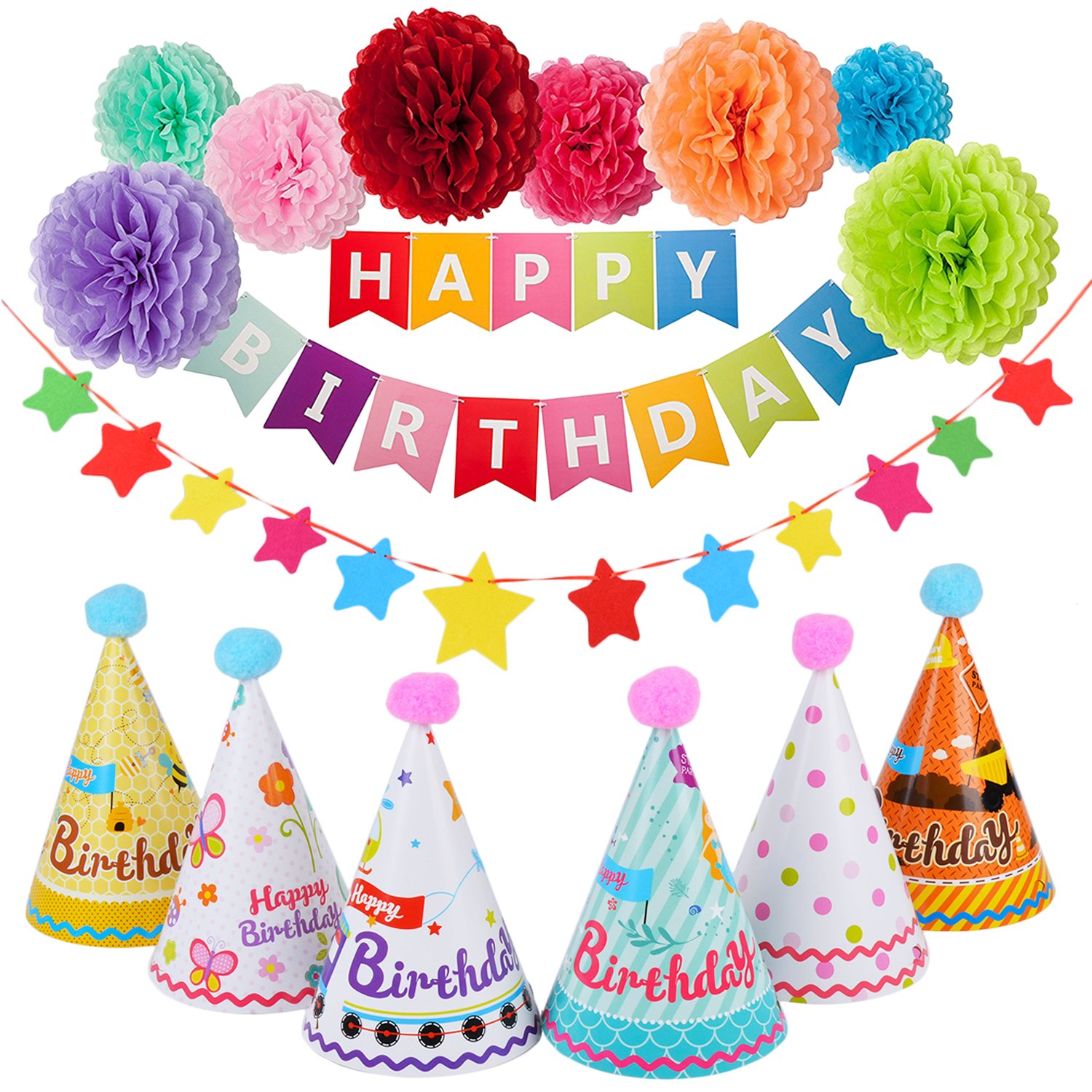 Outgeek Happy Birthday Banner Decorations Party Supplies, Birthday Party Decorations with Happy Birthday Banner Letters, Tissue Pom Poms Flowers, Star Paper Garland Happy Birthday Hat