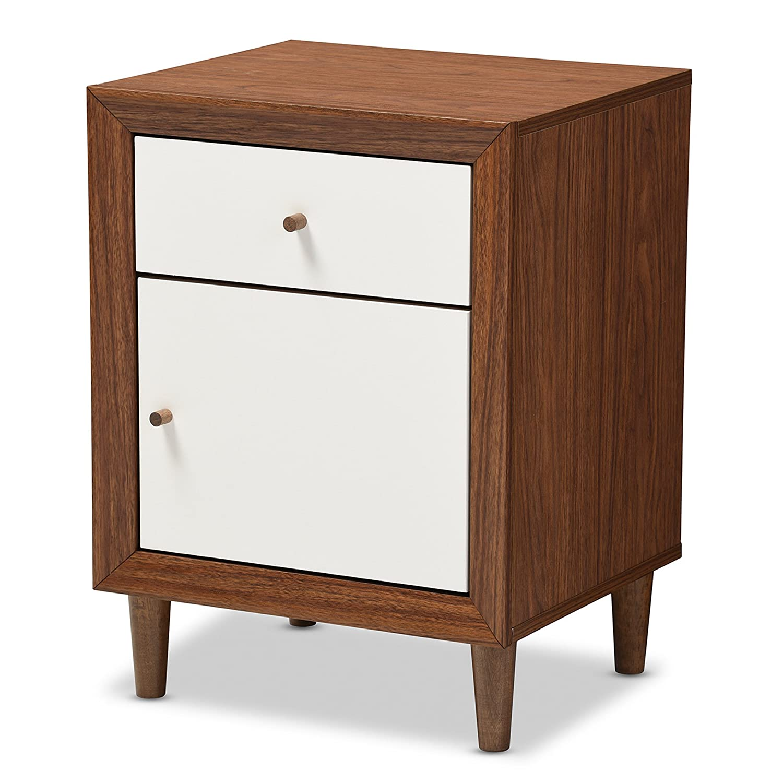 Amazon.com: Baxton Furniture Studios Harlow Mid Century Wood 1 Drawer And 1  Door Nightstand, Medium, White And Walnut: Kitchen U0026 Dining