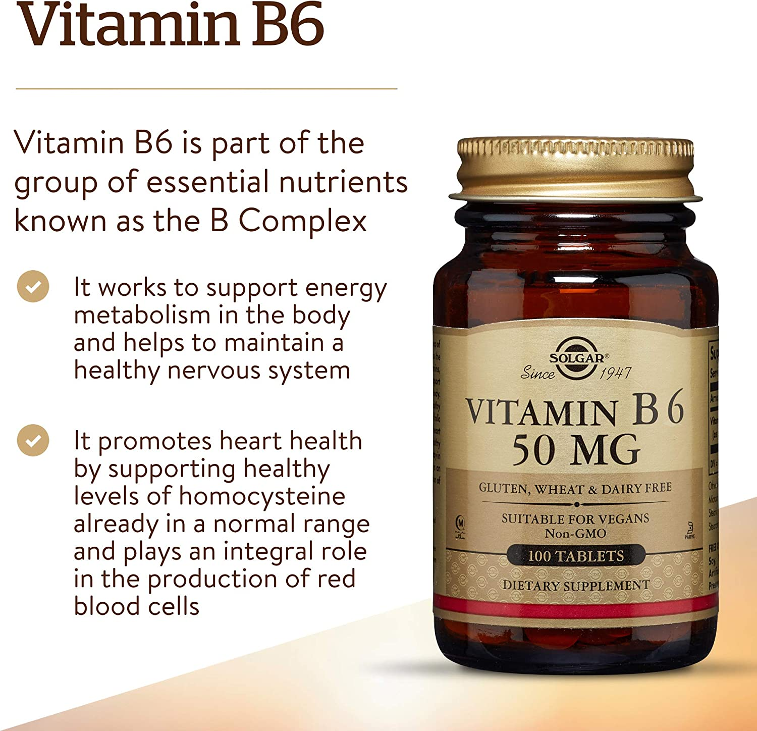 Solgar - Vitamin B6 50 mg, 100 Tablets: Health & Personal Care