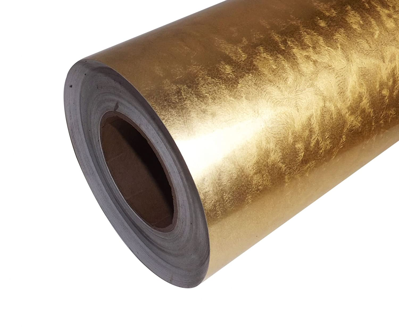 Gold & Silver Leaf Brushed Effect Aluminium Self Adhesive Sticky Back Vinyl 1 meter by 610mm (Gold Leaf) Uber-Film