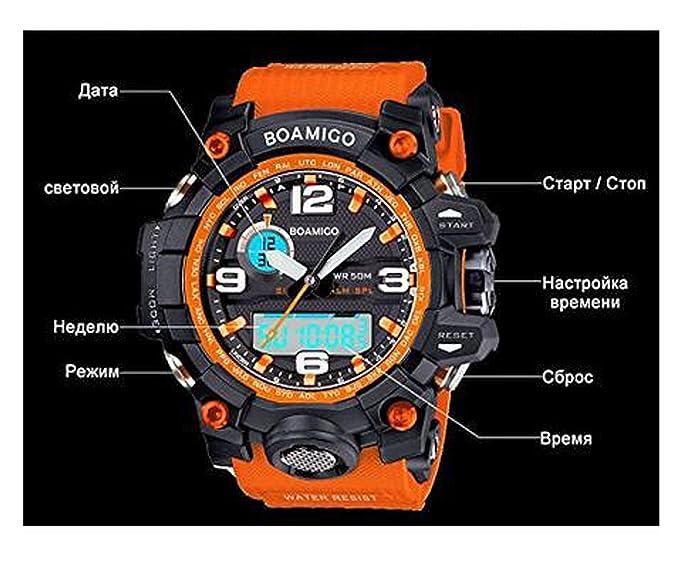 Boamigo marca hombres relojes deportivos relojes de cuarzo electrónico de doble pantalla analógica Digital LED 50