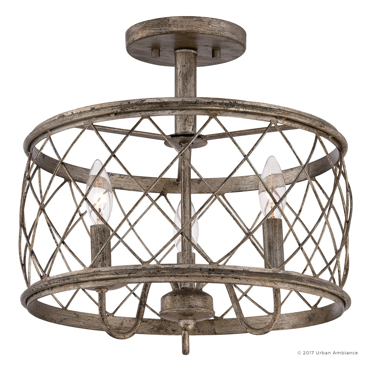Luxury French Country Semi-Flush Ceiling Light, Medium Size: 14.5''H x 15''W, with Shabby Chic Style Elements, Gold Accented Silver Leaf Finish and Open Metal Lattice Shade, UQL2265 by Urban Ambiance