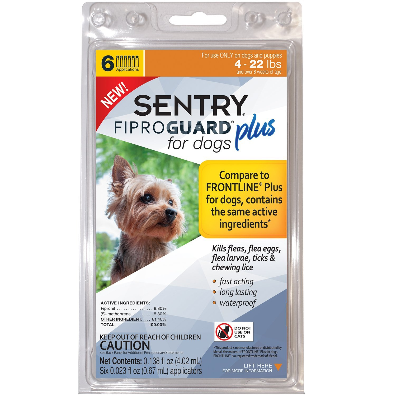 Sentry FIPROGUARD PLUS for Dogs & Puppies 4-22 lbs. Topical Flea & Tick Treatment, 6 Month Supply