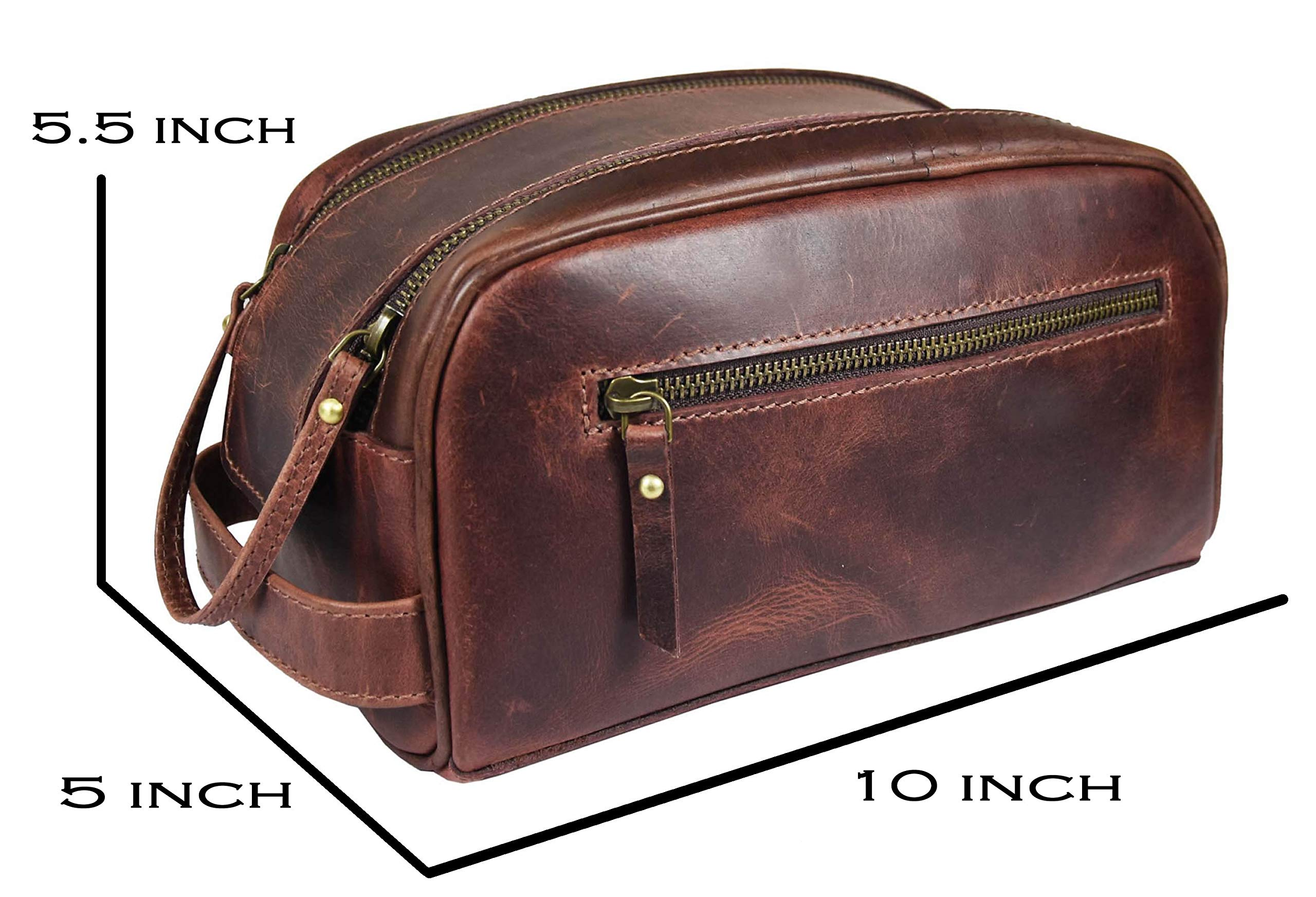 Leather Toiletry Bag for Men | Grooming Travel Kit | By Aaron Leather (Walnut - Dual Zipper) by AARON LEATHER GOODS VENDIMIA ESTILO (Image #3)