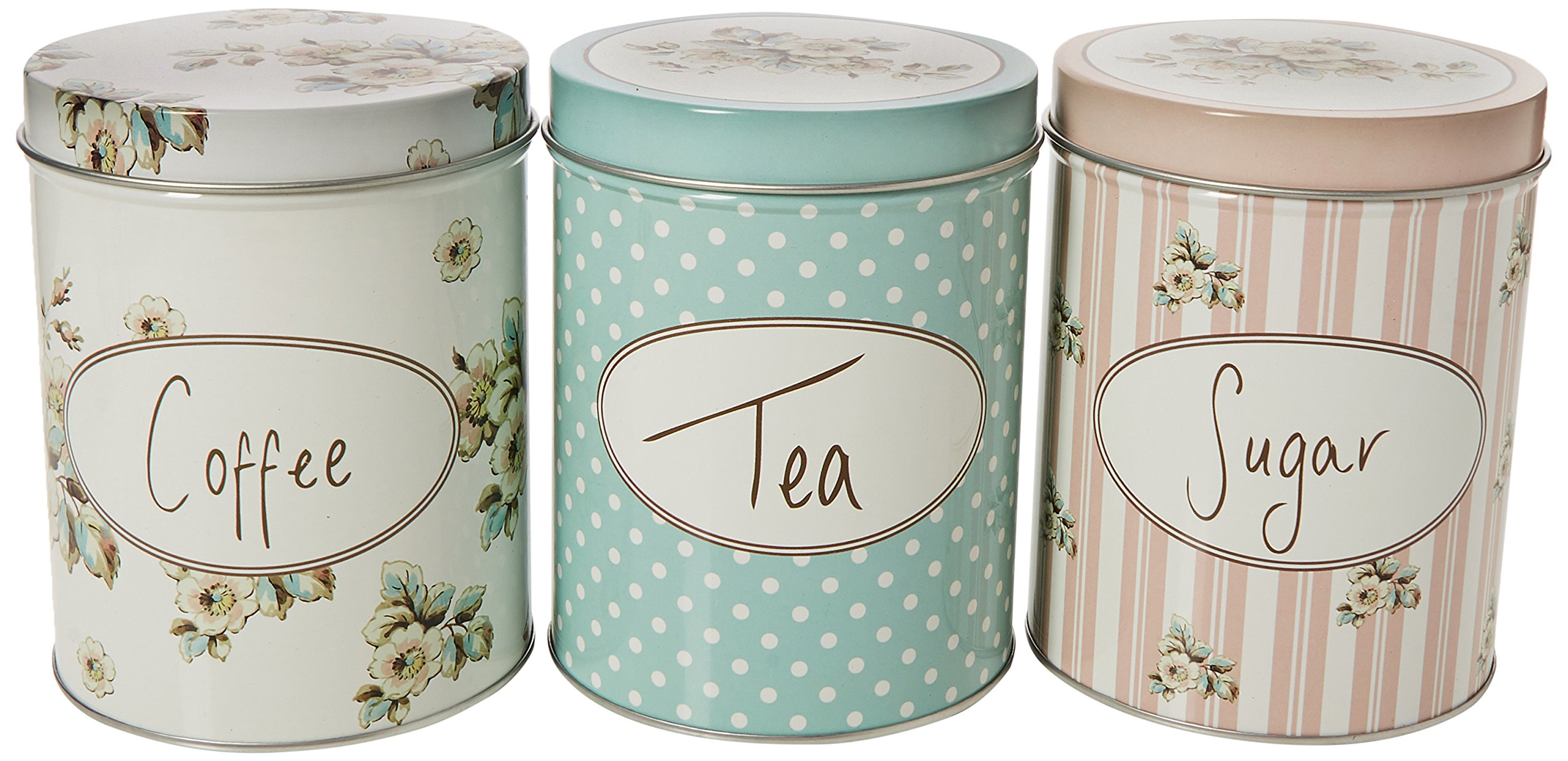Katie Alice - Set Of Three Cottage Flower Large Coffee, Sugar & Tea Storage Tins by Creative