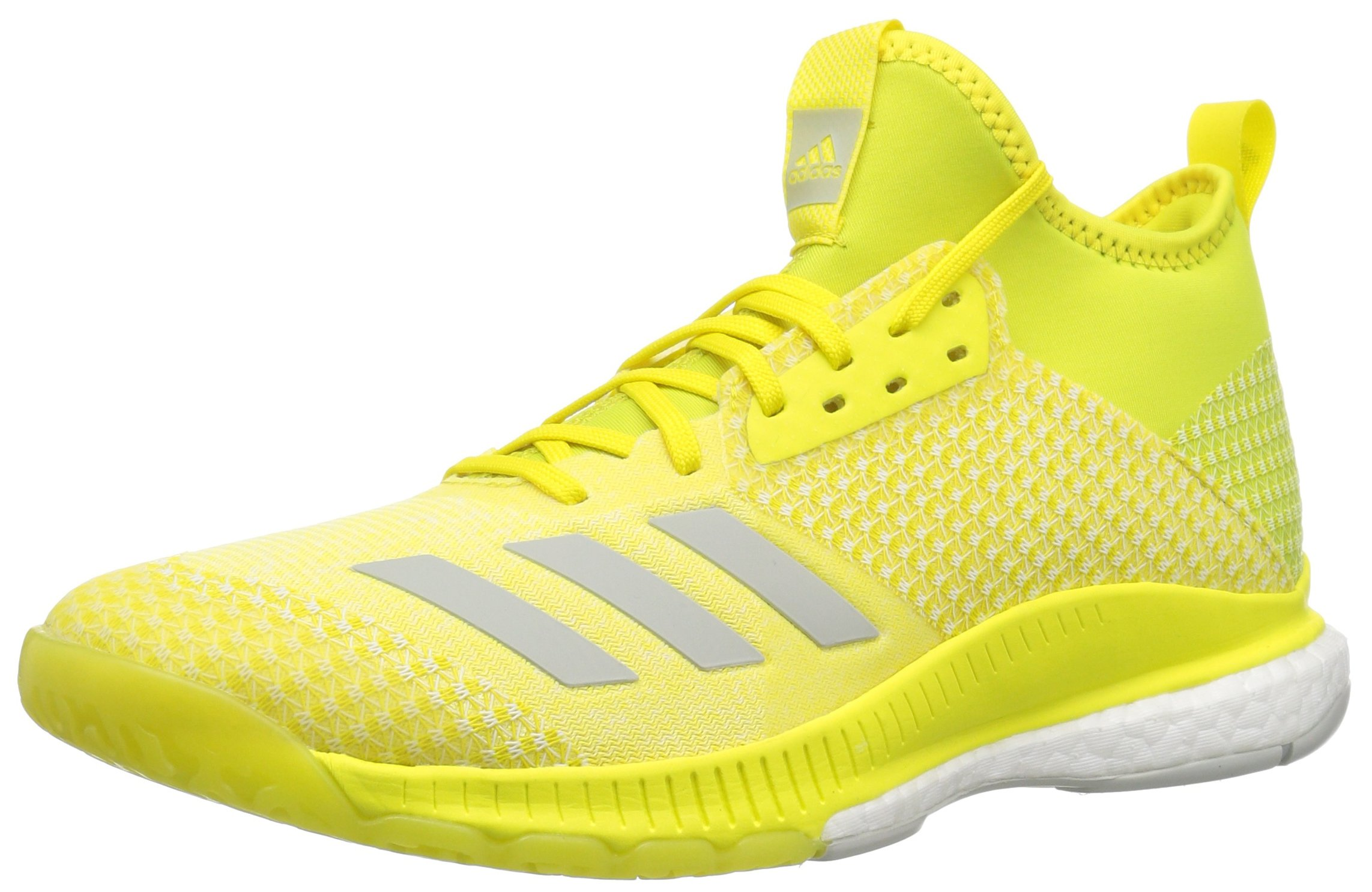 adidas Women's Crazyflight X 2 Mid Volleyball Shoe, Shock Yellow/ash  Silver/White, 5.5 M US