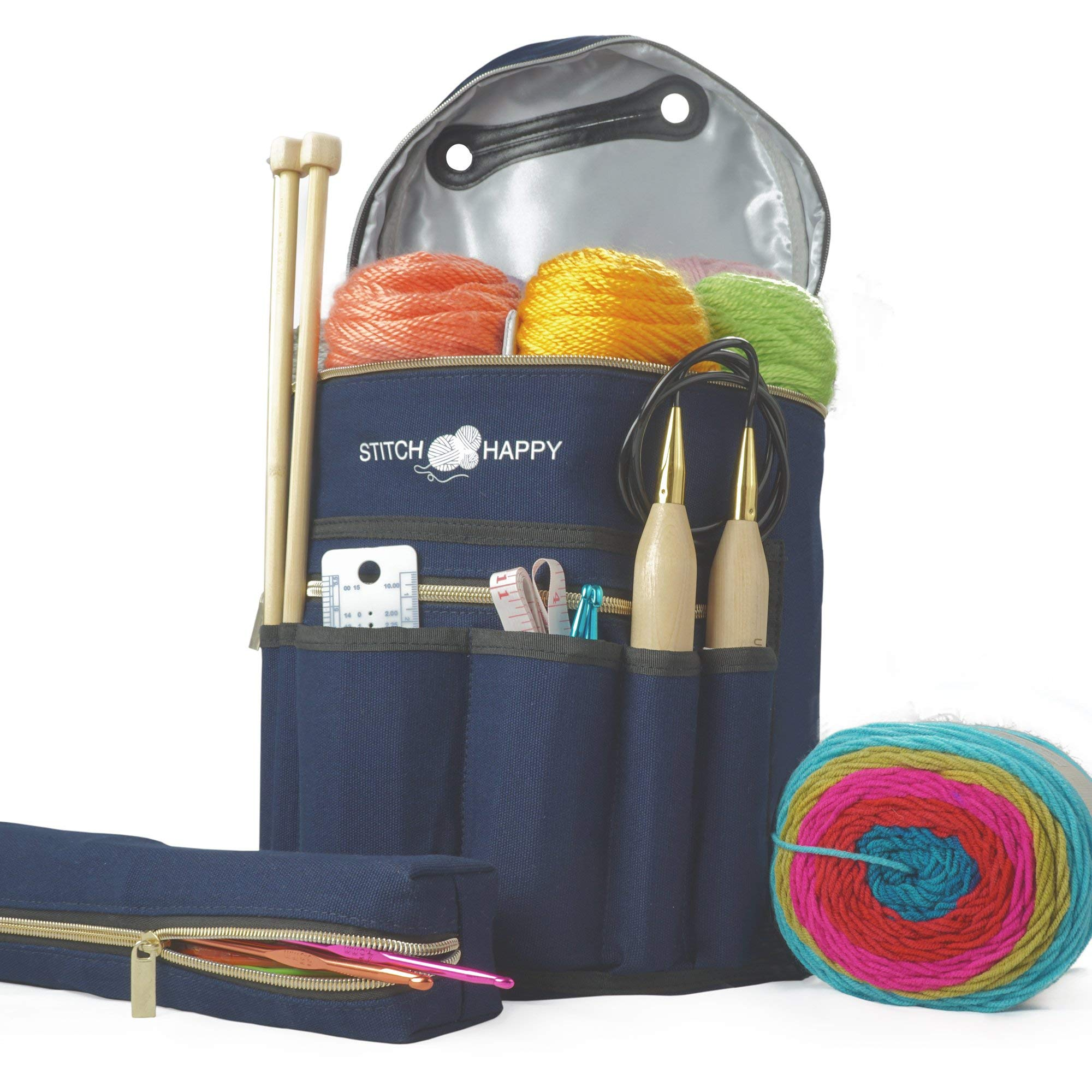 Knitting Bag - Yarn Tote Organizer w/Tool Case, 7 Pockets + Divider for Extra Storage of Projects, Supplies & Crochet (Navy) by Stitch Happy