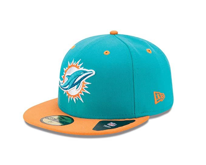015beb00a76 Amazon.com   NFL Miami Dolphins Two Tone 59Fifty Fitted Cap   Sports Fan  Baseball Caps   Clothing